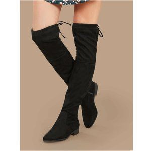 NWOT Black Faux Suede Over The Knee High Boots